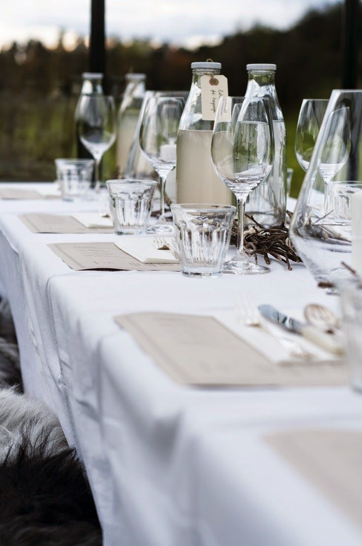 Simple restaurant table setting - I Love The Simplicity Of This Table Setting A Few Hurricane Lamps Some Twigs And Glass Decanters Simple Place Settings And A White Table Cloth Make It