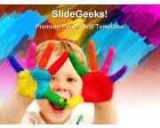 Happy Child With Painted Hands Art PowerPoint Templates And PowerPoint Backgrounds 0711