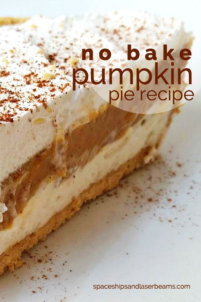 Easy No Bake Pumpkin Pie Recipe with Cool Whip - This recipe is delicious, so creamy and lots of flavor! (Halloween Bake Pumpkin)