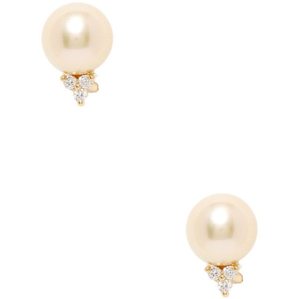 Belpearl Women's 18K Yellow Gold, Golden South Sea Pearl & 0.30 Total... (£1,065) ❤ liked on Polyvore featuring jewelry, earrings, gold, long diamond earrings, yellow gold stud earrings, yellow gold diamond earrings, 18k yellow gold earrings and golden south sea pearl earrings
