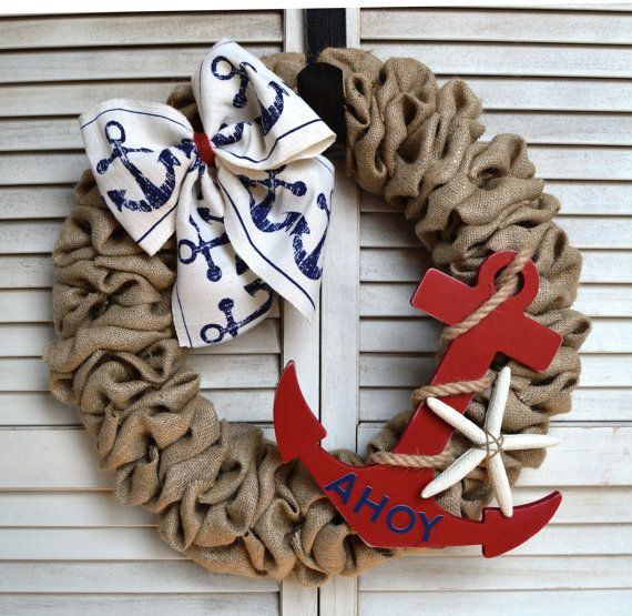 Nautical Burlap Wreath   Anchor Wreath ☆