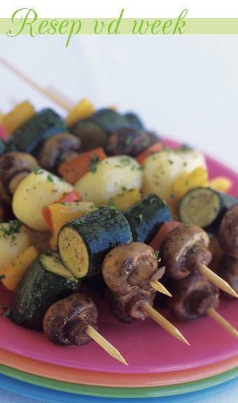 Vegetable skewers | Groentesosaties #recipe #braai