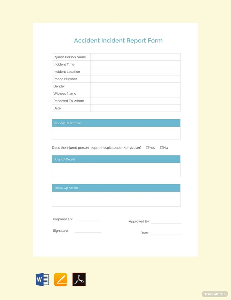 Free accident incident report table of contents template