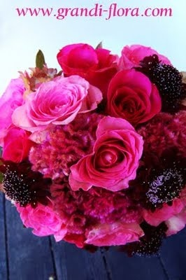 ame popular color choices. Roses in various pink and fuchsia are combined with summer pink celosia and burgundy scabiosa for textural interests.