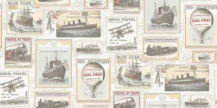 Memories 2 (G56144) - Brewers Wallpapers - A montage of ship/boat images with hot air balloons stream trains and aeroplanes in a vintage fashion. Shown here in cream, pale blue and red. This is a paste the wall product. Please ask for a sample for a true colour match.
