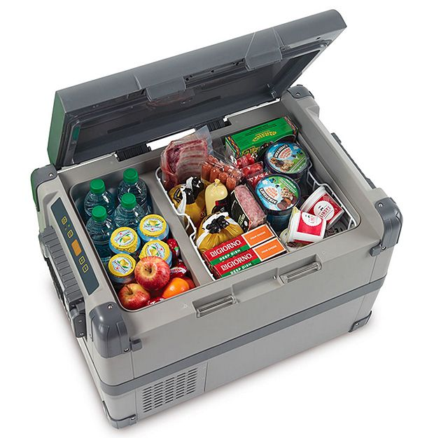 The 53 Quart Portable Freezer/Cooler --- They call it a cooler but it's really a portable fridge & freezer with a weekend-size 53 quart capacity. You control the fridge & freezer compartments with an LED control panel that allows you to set the temp from -7° F to 53° F. For power, it includes a 6′ DC cord for plugging into a car or boat and a AC to DC converter for plugging into a standard AC outlet. $650
