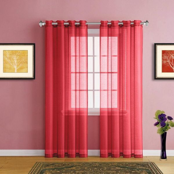 Saharcurtains Polyester Solid Pattern Red Window Scarves