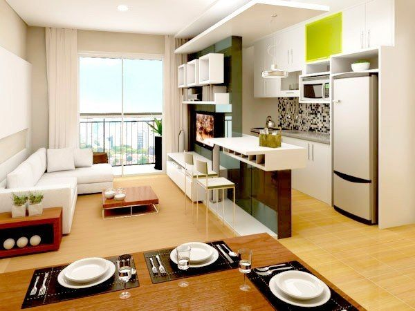 Cozinha, sala e sala de jantar