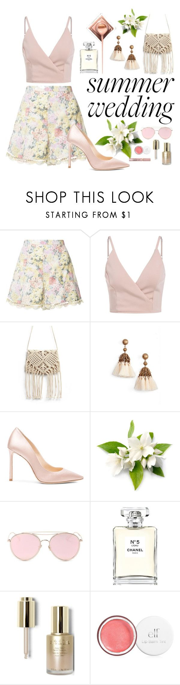 """""""Summer Wedding Guest"""" by kathrynesker ❤ liked on Polyvore featuring Zimmermann, Loren Hope, Jimmy Choo, LMNT, Chanel, Stila and L'Oréal Paris"""