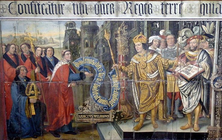 """In 686 King Caedwalla issued a charter confirming the rights and territories previously given to St. Wilfrid by king Aethelwealh and the estate of the Hundred of Pagham including Shripney, Charlton, Bognor, Bersted, Crimsham, Mundham and Tangmere. The handing over of the charter is brilliantly depicted in the Lambert Barnard mural in the south transept of Chichester Cathedral commissioned by Bishop Robert Sherburne c 1508-1536."""