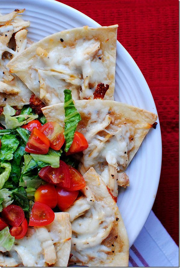 Baked Chicken Caesar Chalupa Nachos are irresistible and perfect for scooping up an ice-cold Caesar Salad!