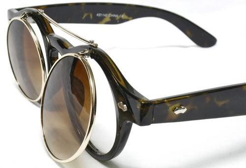 50's Vintage Flip Up Round Tortoise Brown Frame Steampunk Sunglasses Eyeglasses