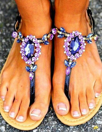flat sandals with jewels