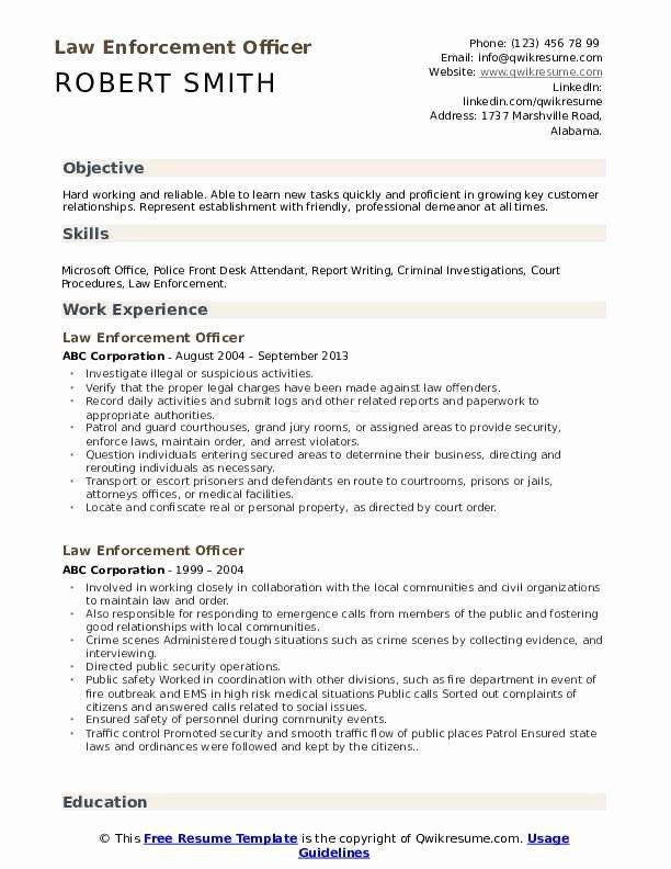 Warrant Officer Resume Examples Elegant Law Enforcement Ficer Resume Samples In 2020 Resume Examples Good Resume Examples Warrant Officer