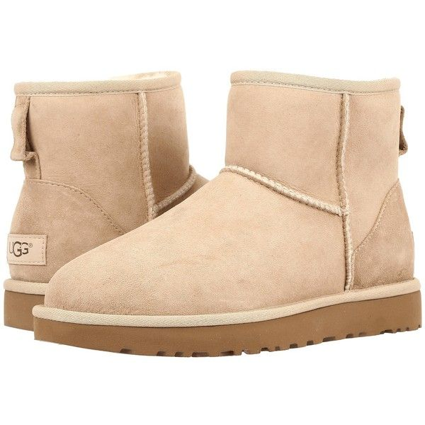 UGG Classic Mini II (Sand) Women's Boots (3.975 UYU) ❤ liked on Polyvore featuring shoes, boots, ankle boots, platform boots, fur boots, bootie boots, short fur boots and faux fur boots
