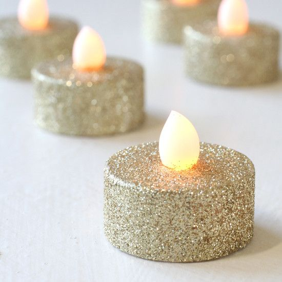 6 Gold Glitter Battery LED Tea Lights