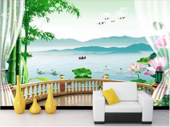 3d wallpaper custom mural non-woven 3d room wallpaper Bamboo gauze lotus lake background wall  photo wallpaper for walls 3 d #Affiliate