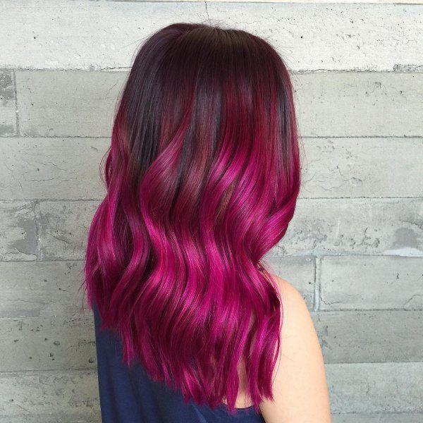 Black Hair With Hot magenta highlights