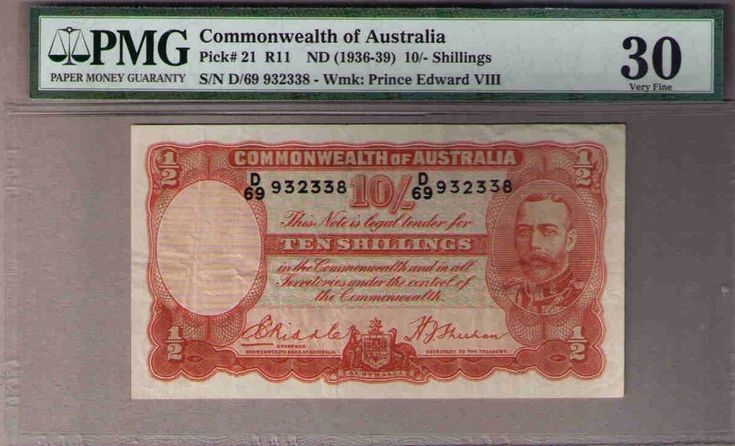 Australia Pick#21 R-11.(1936) 10 Shillings Riddle/Sheehan Geo V PMG 30 Very Fine