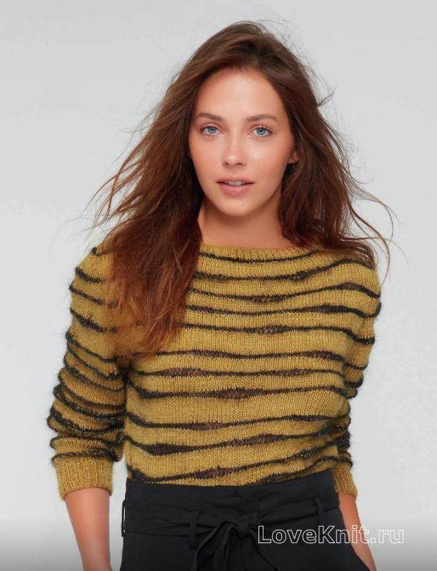 Спицами укороченный двухцветный пуловер в полоску фото к описанию