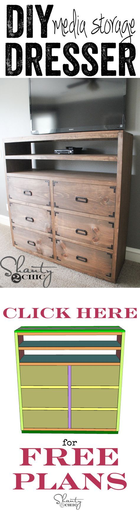 DIY Dresser with Media Storage! Love this and it's part of a 6-piece Media Storage Unit!