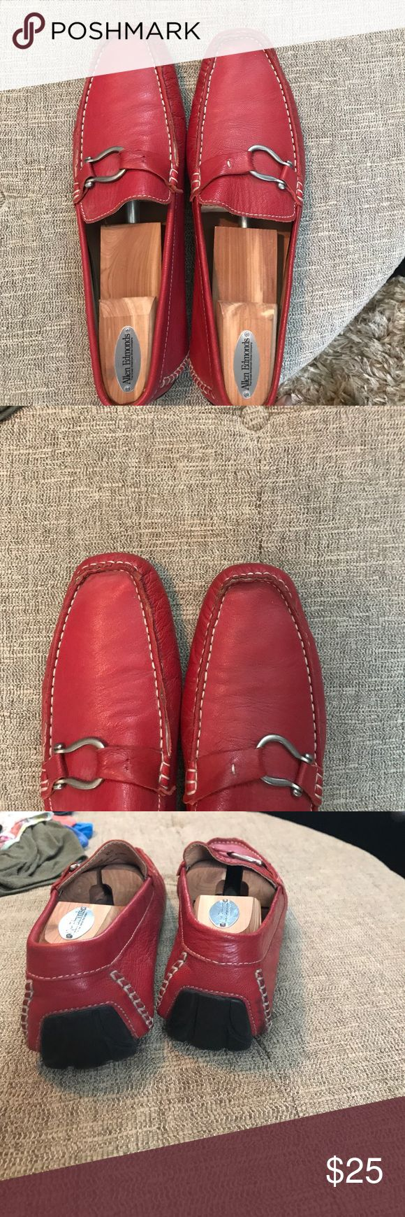 Bacco Bucci Dio genuine red leather driver These are hot! They have seen some love but still in good condition! They retail for $60-$120 Bacco Bucci Shoes Loafers & Slip-Ons