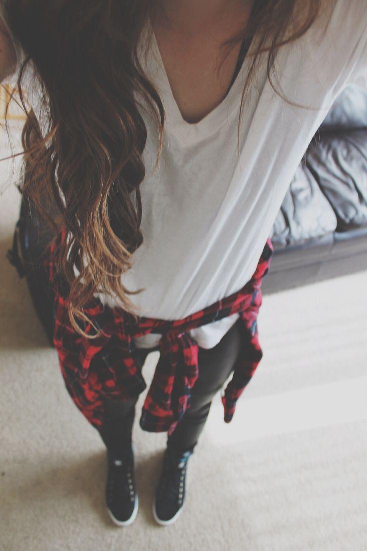 plain white tee, plaid outerwear, leather bottoms, + black kicks