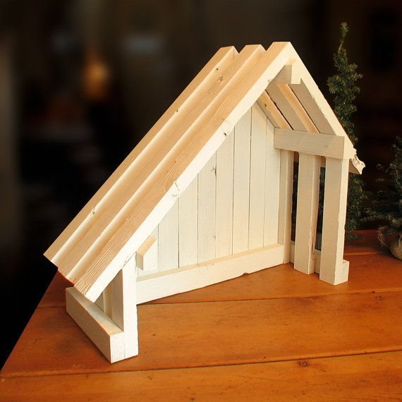 Nativity Creche Stable with Slant Roof for por SilverHollyLLC