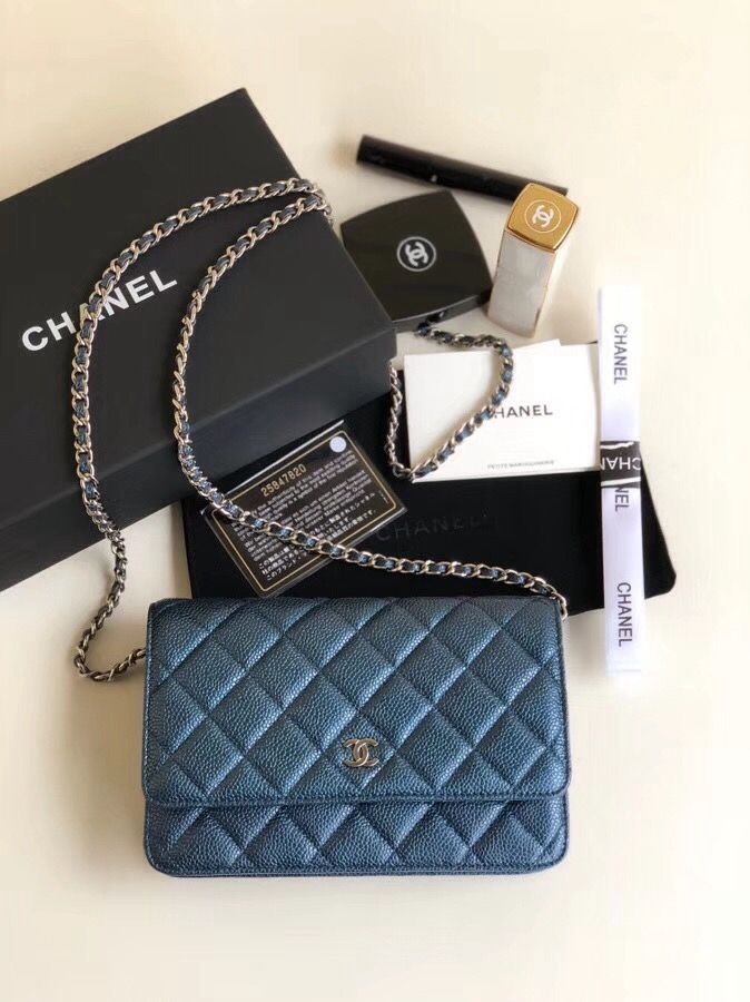 b3ecc19b23e9 Chanel Quilting Pearl Caviar Calfskin WOC Wallet on Chain Bag Navy Blue 2018