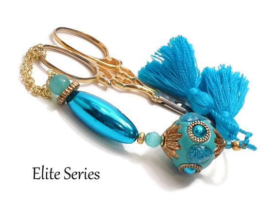 Metallic Aqua Blue OOAK Scissor Fob Beaded Handmade by TJBdesigns