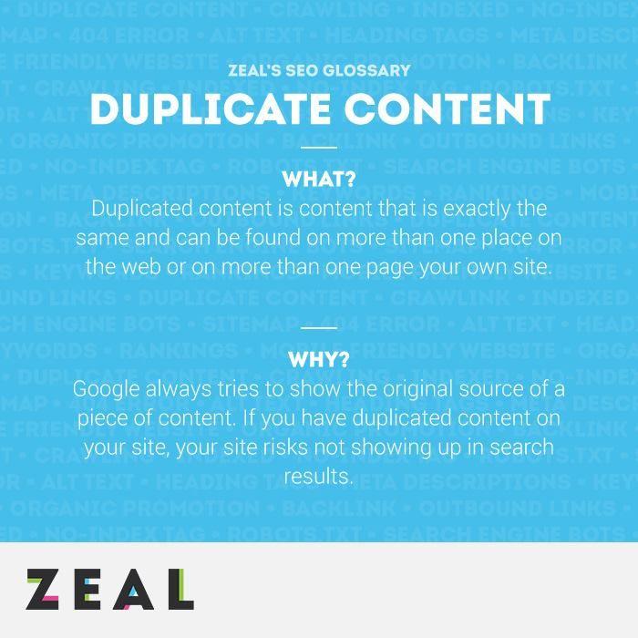 SEO Glossary: Duplicate Content #SEO #Glossary #Marketing