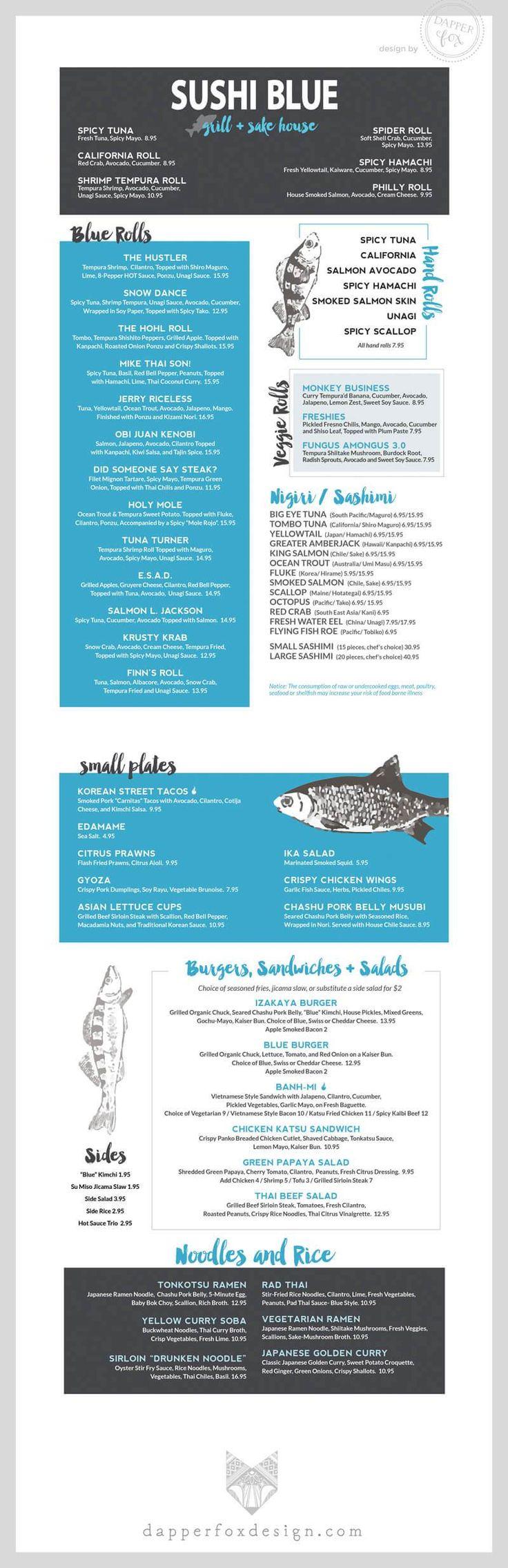 Dapper Fox Design // Branding - Website Design - Logos // Dinner and Lunch Restaurant Menu Design for Sushi Blue in Park City    //   Website Design - Branding - Logo Design - Brand - Entrepreneur Blog and Resource