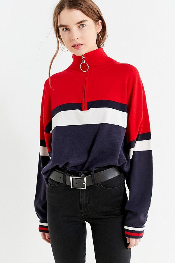 UO Oversized Striped Half,Zip Sweater