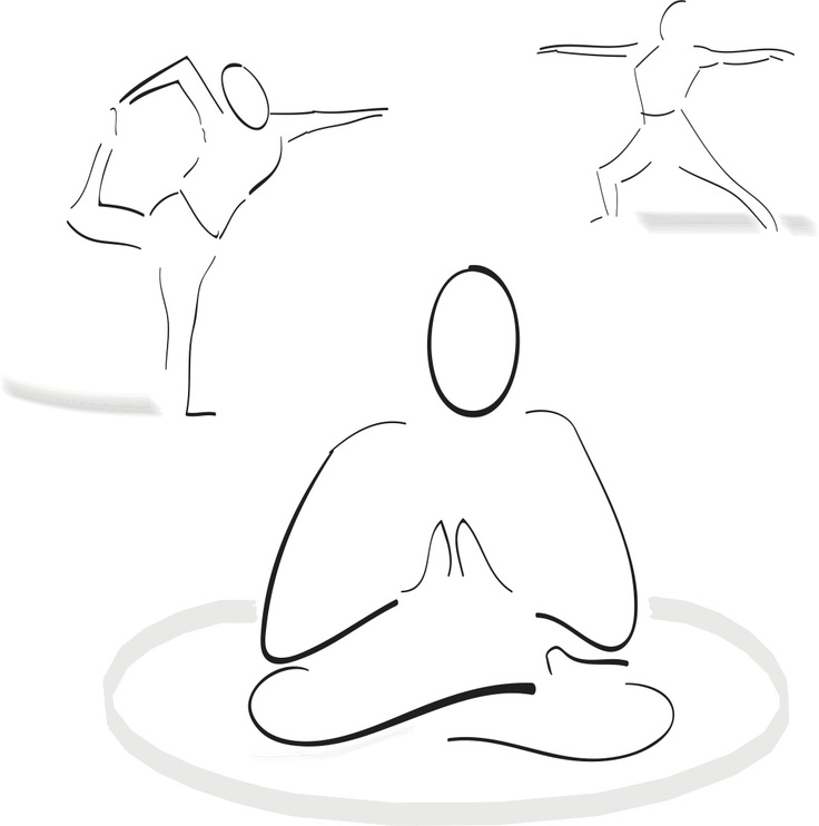 Drawing Of Yoga Poses Used For Outdoor Signage Classes