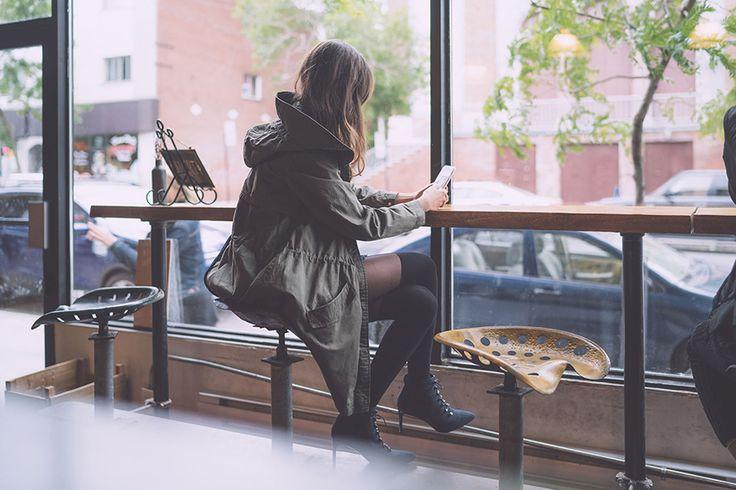 #khaki#jacket#black#boots
