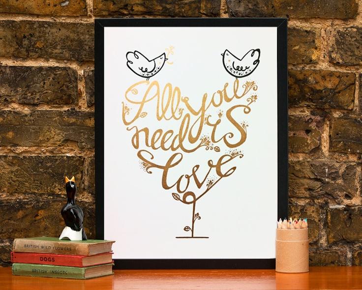 Valentine's day gold and black screenprint of an original illustration. £29.95, via Etsy.