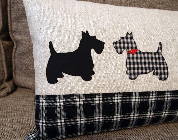 Scottish Terrier de almohada 30 x 55 cm. lino por CozyRiverCottage