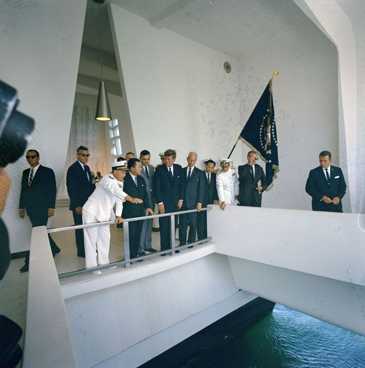KN-C28989. President John F. Kennedy Visits USS Arizona Memorial at Pearl Harbor - John F. Kennedy Presidential Library & Museum
