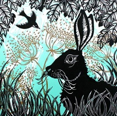 """Hare in the Cow Parsley"" by Kerry Tremlett (linocut)"