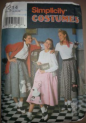 Simplicity Costumes 7214 Sz P 12 14 16 Adult Poodle Skirt 50s Sock Hop Pattern