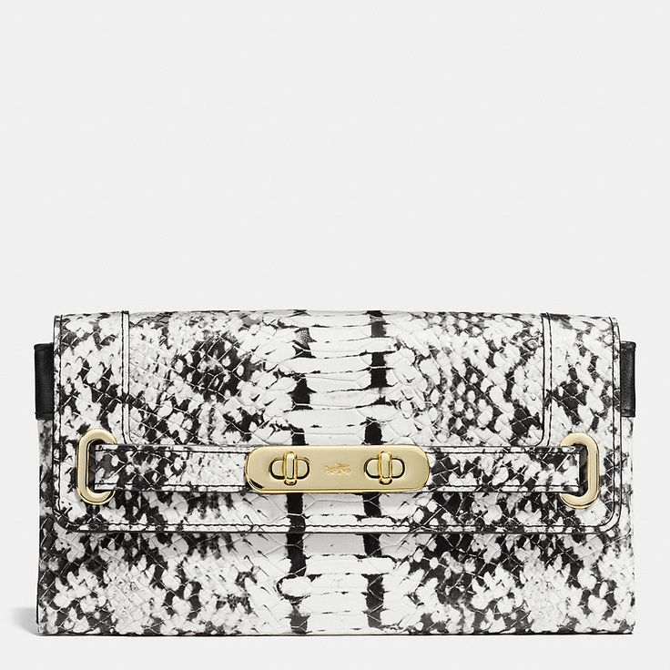 Coach Swagger Wallet in Colorblock Exotic Embossed Leather