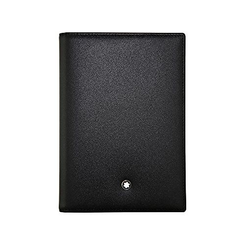 A Montblanc passport holder case crafted in black full grain leather with a deep shine. It holds all international passports and comes with an additional pocket. Dimensions: 3.9 x 5.5.  Passport Holder