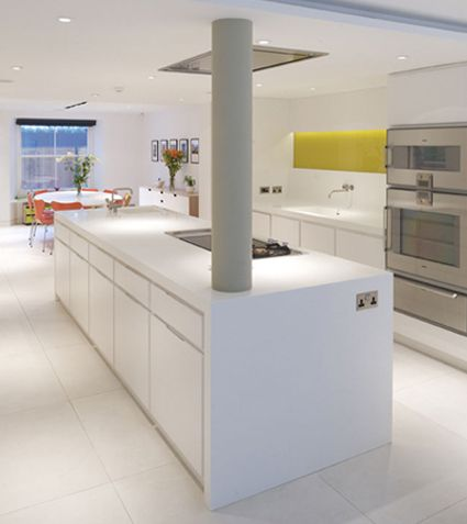 Bespoke kitchen in pigmented lacquer with Corian worksurfaces.  Made by Artichoke www.artichoke-ltd.com