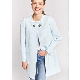 Pastel Blue Jewel Button Coat @ TARA JARMON