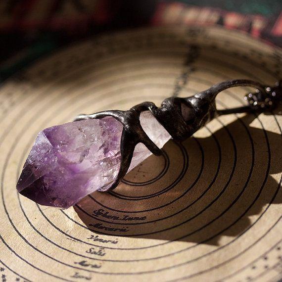Free Spirit Shamanic Amethyst Necklace Stone by REZZABELLUM