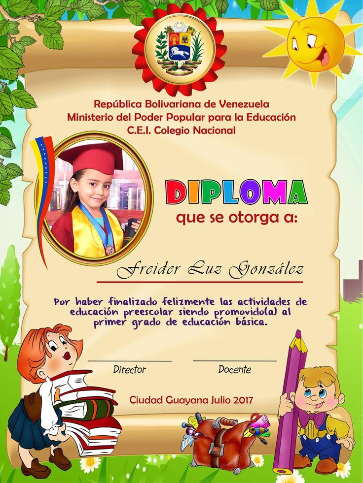 Diseño Diploma Pre-escolar para colegios de educación inicial.
