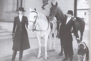A rare image of Edith and Cornelia Vanderbilt (plus their beloved Saint Bernard) in Biltmore's stables.