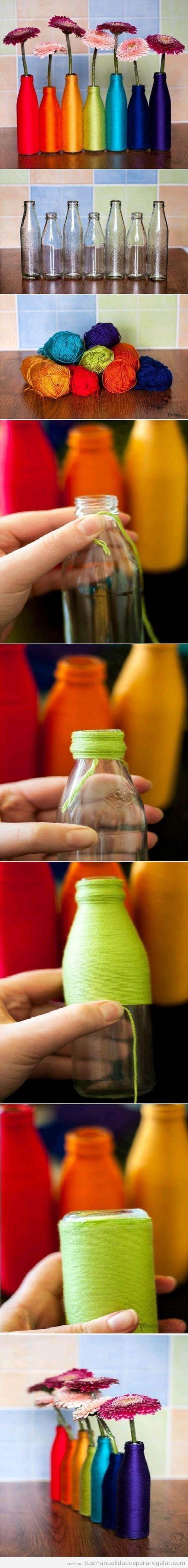 Manualidades regalar, tutorial jarrones DIY con botellas e hilos