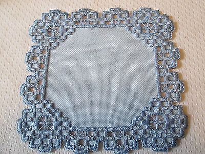 Hardanger Norwegian Embroidery Doily Blue with Blue | eBay
