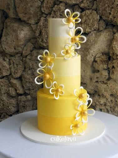 "Yellow ombre ""Sara"" design with whimsical plumerias by Rick Reichart, cakelava. www.cakelava.com"